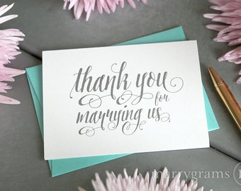 Wedding Card to Your Officiant - Thank You for Marrying Us - Priest, Rabbi, Deacon, Friend, Justice of Peace, Vendor Note Card Gift - CS12