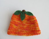 Cotton Hat for Newborn Baby, Pumpkin Hat for Baby, Handknit Baby Hat, Orange Pumpkin Hat