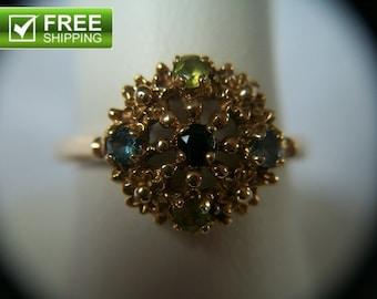 Vintage Estate Find 10k Yellow Gold Sapphire Topaz Peridot Ring Size 6 Multi Gemstones