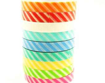 Japanese Washi Masking Tape Set - 10mm Wide Diagonal Stripes - 9 Rolls