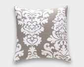 50% OFF CLEARANCE Ecru Taupe Tan Floral Pillow Cover. 18X18 Inches. Berlin Flower Cushion Cover.