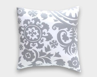Gray Suzani Decorative Pillow Cover. Pick A Size. Storm Gray and White. Throw Pillow. Floral