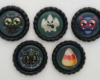 Halloween characters bottle cap magnets