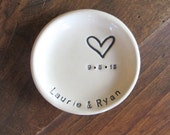 ring dish, wedding ring holder, engagement gift, MR and MRS gift, handmade earthenware pottery, Made to order