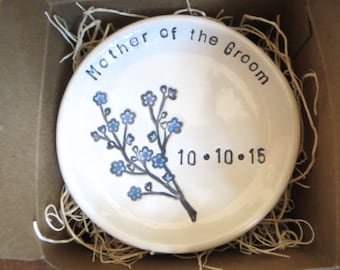 wedding ring dish, ring holder, Mother of Groom Gift, Mother of Bride Gift,  Gift for Parent, Blue Flower Dish,  Made to Order