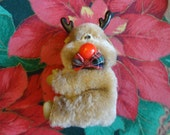 Vintage Christmas Ornament - Humorous Reindeer, Tan furry body, big red nose, felt ears, plastic antlers, hands and feet, plaid bow tie