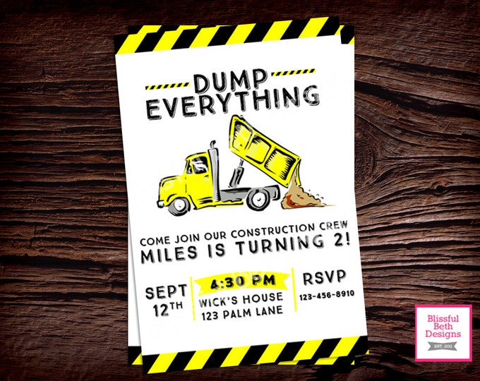 DUMP EVERYTHING INVITATION Construction Birthday Invitation, Printable Construction Birthday Invitation, Dump Truck, Dump Truck Invitation