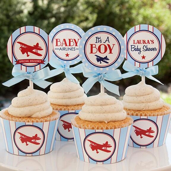 Airplane baby shower decorations airplane cupcake toppers for Airplane baby shower decoration ideas