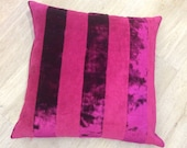 WIDE STRIPE crimson pink velvet and chenille LARGE square cushion covers in Osborne and Little fabric. 20inch / 50cm pillow shams.