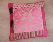 PINK PATCHWORK square cushion cover in Osborne and Little & Designer Guild fabrics - BESPOKE accent damask velvet cushion cover in pink.