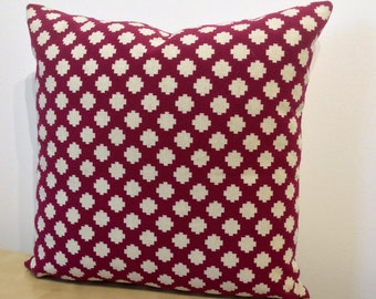 MAGENTA PINK Crimson square design in cream on a plain pink linen background, SQUARE cushion cover / pillow sham by Osborne and Little.