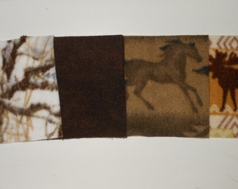 Fun Multi Pack Fleece Squares 6 Inch Shades Of Browns, Greys, Reds, Black, Oranges, And Camo