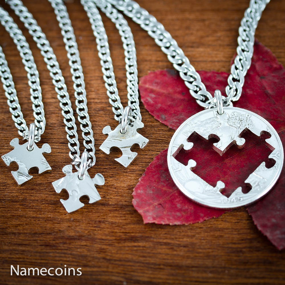 4 best friends puzzle necklaces cut from bff