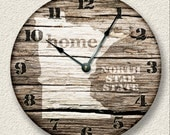 MINNESOTA Home State Wall CLOCK  - Barn Boards pattern  - North Star State - rustic cabin country wall home decor