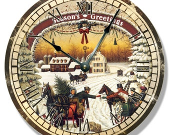 """10.5"""" Wall Clock - CHRISTMAS pattern wall CLOCK - Seasons Greetings classic  - 7147"""