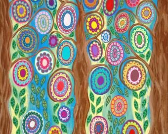 """Kerri Ambrosino Mexican Folk Art """"DIY"""" Pillows Tree of Life Blue Flowers"""