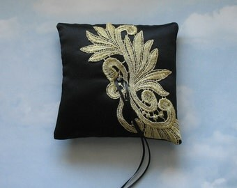 Ring bearer pillow. Black and gold ring cushion.