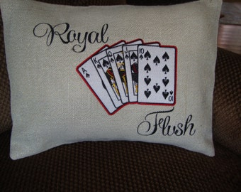 Royal Flush Cards Burlap Throw Pillow Envelope Cover 12 By 16 Size Royal Flush Machine Embroidered Royal Flush