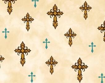AMAZING GRACE gold crosses aqua on cream by Quilting Treasures 100% cotton quilt fabric Christian 24030 E