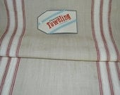Moda 16 x 68 inch toweling farmhouse red stripe linen ALL cotton LAST PIECE