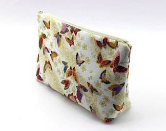 Butterfly Cosmetic Pouch,Zippered Medium Pouch,Gift For Her,Travel Pouch,White