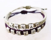 Couples Names Bracelets - Silver Letter Beads with Heart - Hemp Jewelry
