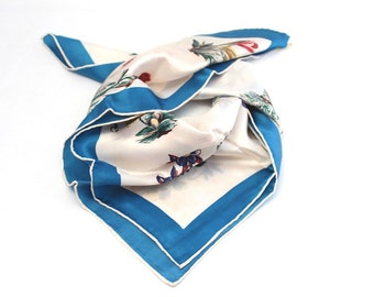 Vintage Scarf, 26 x 26 inches. Blue Floral Design Colours in Blue & White.