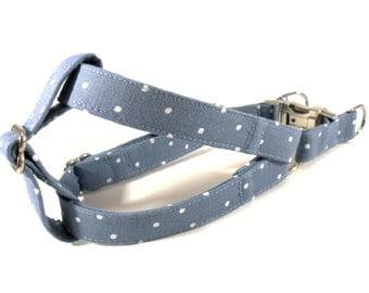 Polka Dots in Ocean Dog Step in Harness