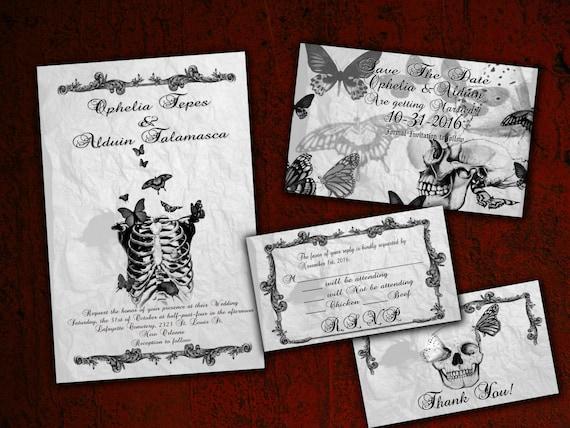 Skeleton and Butterflies Gothic Halloween Wedding Invitation