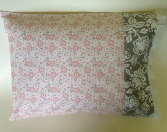 Travel Pillowcase, Child Pillowcase, Decorative Pillowcase...Pink and Grey...Free Shipping in the USA