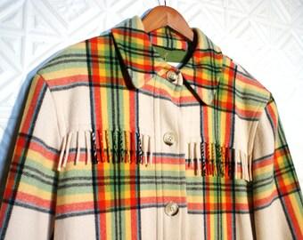 1990s Tartan fringed woollen coat , made in germany .