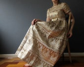 60s Metalic Gold Brocade Bronze Maxi Dolly Dress Mad Men Maxi Small Medium