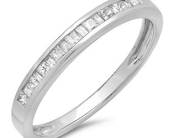 0.25 carat (ctw) 14k  gold princess and baguette cut  diamond ladies anniversary wedding stackable ring band 1/4 ct