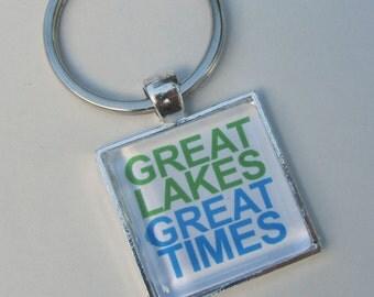 GREAT LAKES Great TImes Lake Michigan Huron Superior Ontario Erie, Up North Michigan Key Chain Key Fob