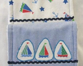 Baby Burp Cloths-Set of Two-Triple Layers-Blue Plaid/Sailboat-Boy