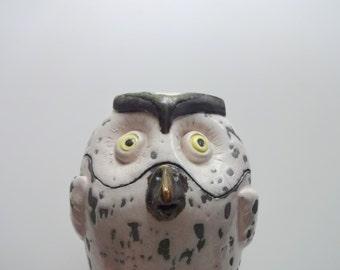 Vintage Handmade Ceramic Owl Canister 1980s