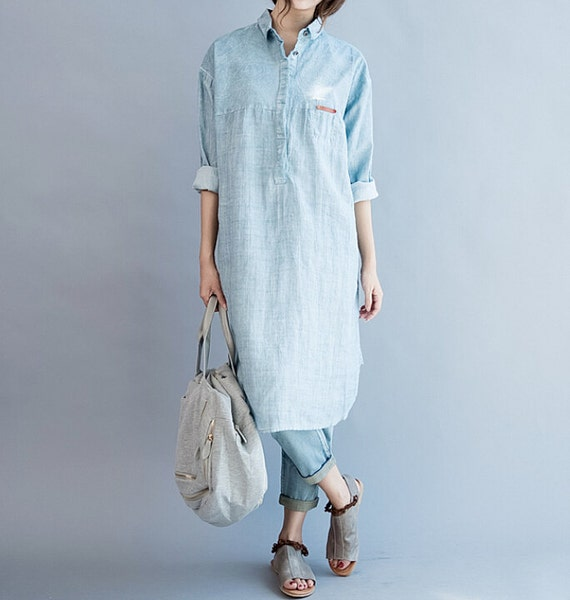 Women loose fitting soft comfortable cotton dress shirt for Soft cotton dress shirts