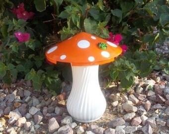 Orange and White Moon 'Shroom - Hubcap Mushroom Garden Art