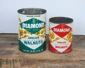 Vintage Diamond Shelled California Walnuts Cans Green and Red Empty