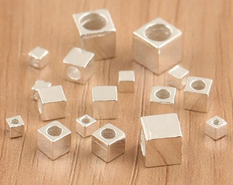 925 sterling silver square beads, sterling silver cubes, bright silver cubic beads, square sterling silver spacer, cubic loose beads