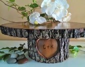 "TREASURY ITEM - 18"" Large Rustic Wedding Cake Stand - Personalized cake stand - Heart cake stand -Wood Cake stand - Wood Tree slices"