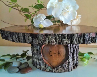 "TREASURY ITEM - 18"" Large Rustic Wedding Cake Stand - Personalized cake stand - Heart cake stand -Wood Cake stand - Wood Tree slices"