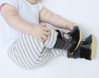 Plaid Baby Booties.  Leather Soled Polar Fleece Boots. Children Fashion. Toddler Shoes. Soft Soled.