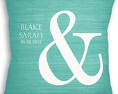 Ampersand - Custom Name Date Pillow - Personalized Wedding Gift - Ampersand Pillow - Mr and Mrs Pillow - Anniversary Gift