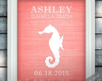 Seahorse - Wall Decor - Nautical Nursery Art - Birth Announcement - Baby Nursery - Ocean Under the Sea - Newborn Gift - Art Print or Canvas
