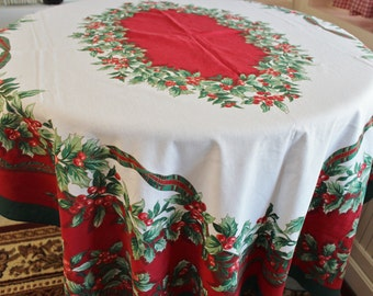 Vintage Rectangular Christmas Tablecloth Holly and Berries