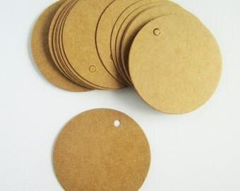 50 round circle brown kraft parcel tags - 35mm