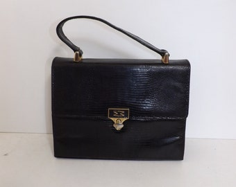 Vintage Mappin & Webb real lizard skin and black leather kelly handbag grab bag