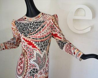 Vintage 70s Leonard of Paris Dress 1970 Signed Couture Designer Hippie Boho Midi Dress Wool jersey Mod Emilio Pucci Era Paisley Border Print