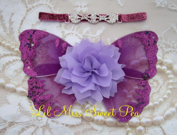 Butterfly wings, plum and lavender baby wings &/or headband for newborn photos, photo prop, newborn photographer, headband, hairband